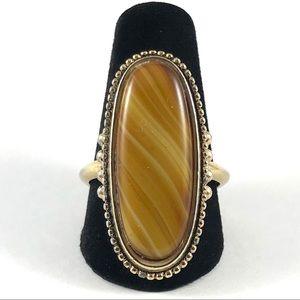 Gorgeous Gold Tone Gemstone Avon Ring Size 8
